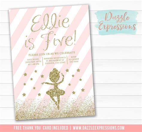 printable pink  gold glitter ballet birthday invitation