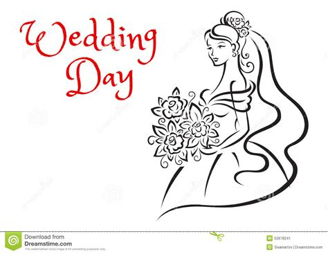Wedding Day Card Template With Young Bride Stock Vector