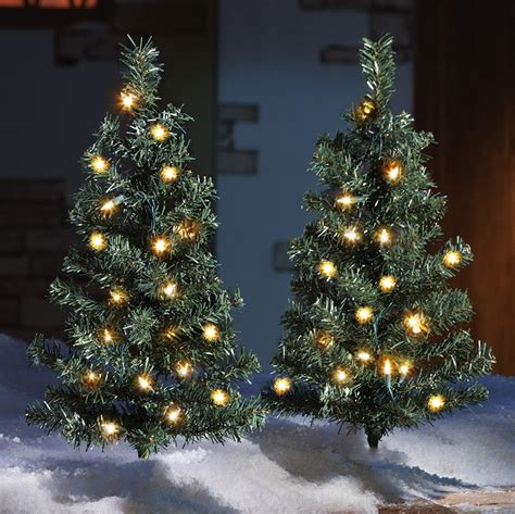 set of 2 pine tree outdoor pathway lights