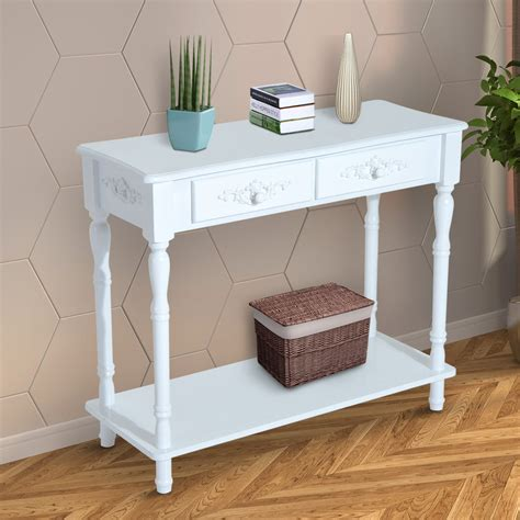 white entry table with drawers homcom wood 2 drawer traditional entryway console table