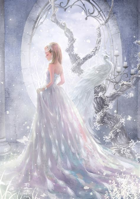 dress white long hair beautiful girl anime wallpaper