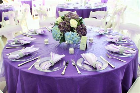 Wedding Decor- Lilac Linen And Light Blue And Purple