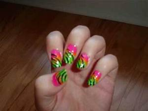 Neon Zebra Nails originally a design by