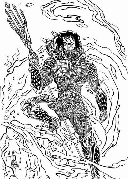 Coloring Aquaman Pages Superhero Justice League