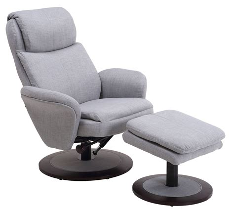 denmark light grey fabric swivel recliner with ottoman