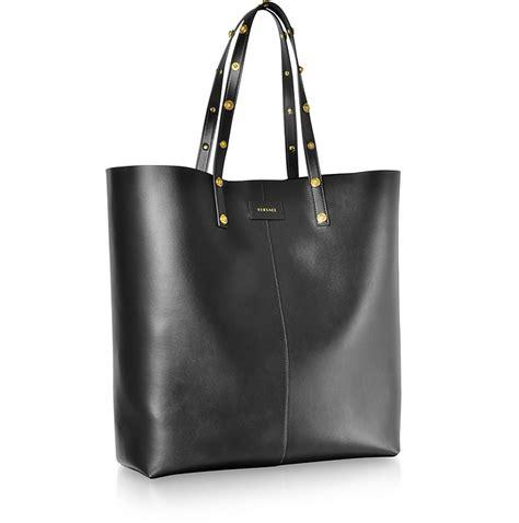 versace black leather studded tote bag  forzieri australia