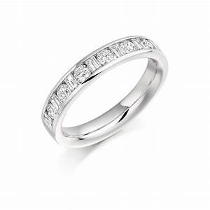 18ct white gold 076ct round brilliant cut baguette cut With 18ct gold wedding rings with diamonds