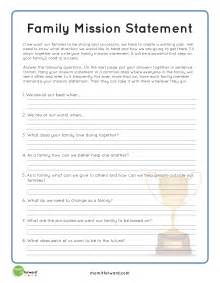 Family Mission Statement Worksheet