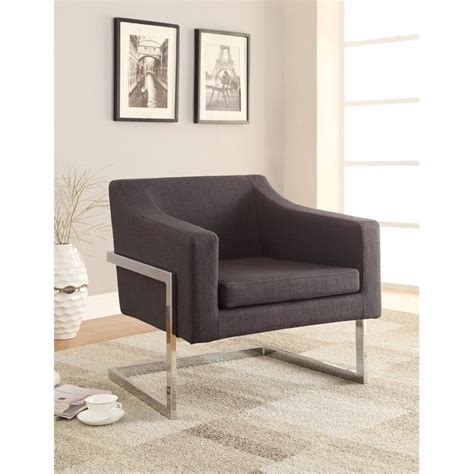 coaster contemporary metal frame accent chair in gray 902530