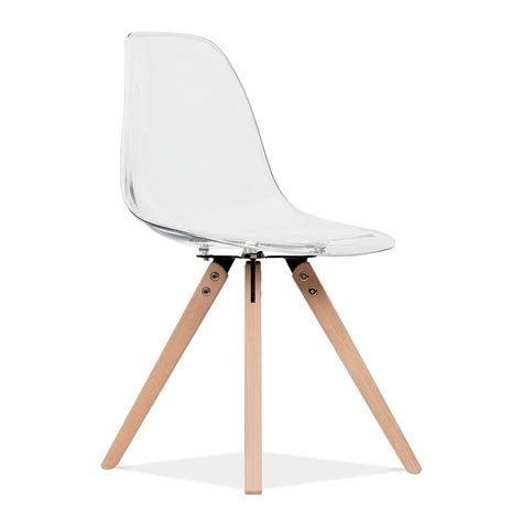 chaise pied bois assise plastique eames inspired transparent dsw dining chair with pyramid