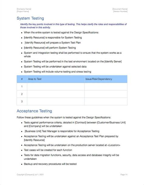 System Test Template by Software Testing Templates Apple Iwork Pages Numbers