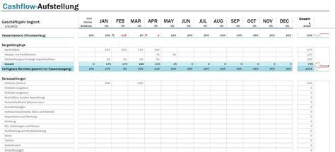 cashflow aufstellung excel tabelle