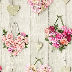 Ideco Home Vintage Hearts Wallpaper