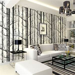 Birch Tree pattern non woven woods wallpaper roll modern ...