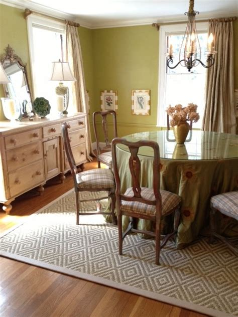 Bordered Sisal Area Rug In Dining Room Transitional