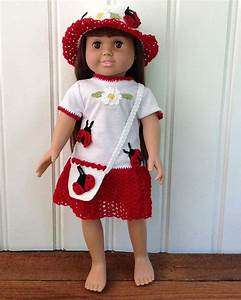 Design American Girl Doll 18 Quot Doll Lady Bug T Shirt Dress Hat Purse Crochet