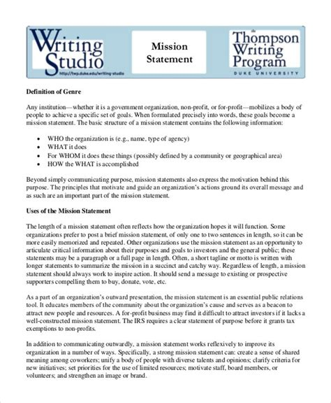 mission statement template   word  document