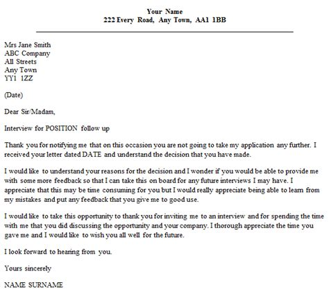 follow  letter   unsuccessful interview