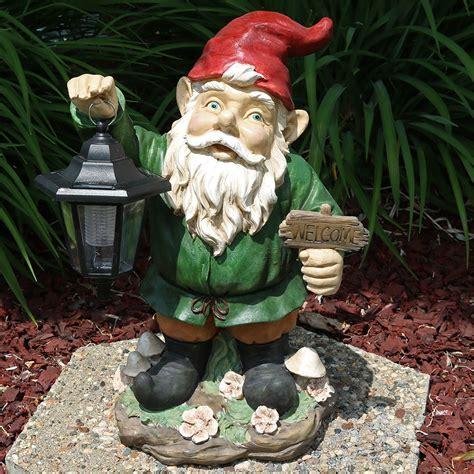 sunnydaze solar lantern garden gnome outdoor decor lawn