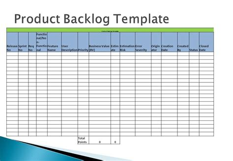 product backlog template applying agile methodology ppt