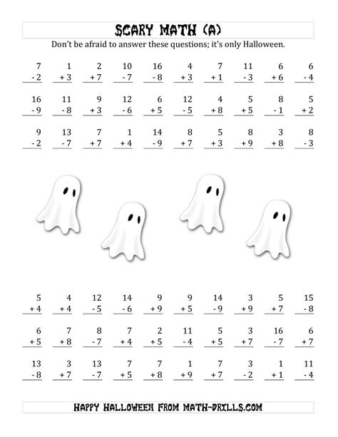 scary addition  subtraction  single digit numbers