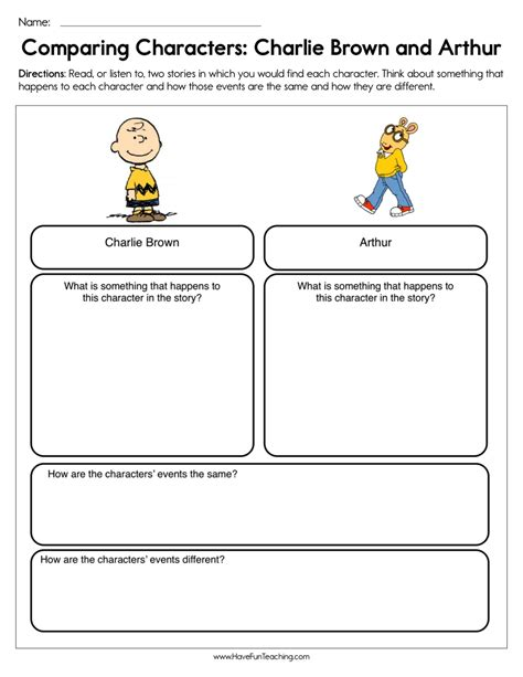 compare  contrast characters   story worksheets