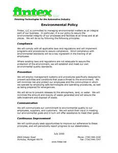 Environmental Policy Statement Examples