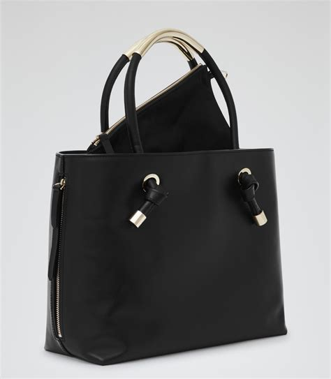 hawker black structured open top tote reiss