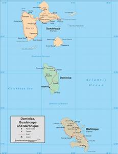 Dominica  Guadelupe And Martinique Detailed Political Map