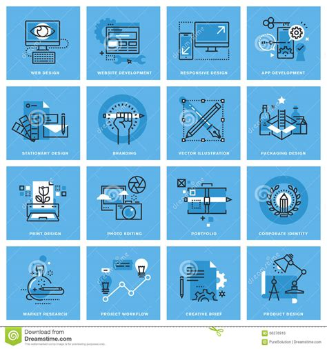 Set Of Thin Line Concept Icons Of Different Categories Of