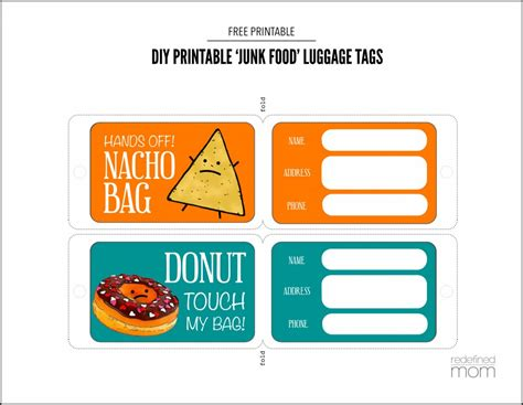 Diy Printable Luggage Tags Diy Printable Junk Food Luggage Tags