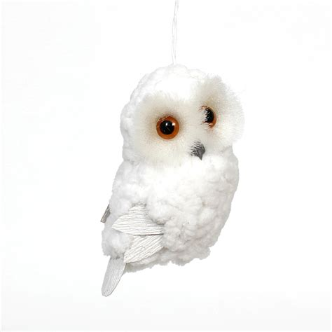 white downy plush owl ornament sears