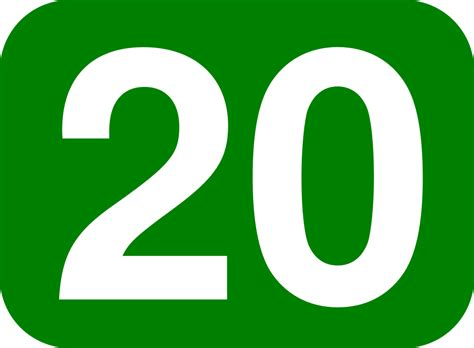 20 White, Green Rounded Rectangle.svg