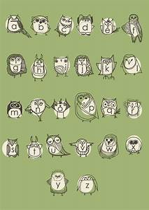 large owlphabet poster alphabet nursery art owl nursery With big poster letters