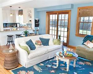 Blue Coastal Living Room With Sea Life Rug Drawer Chest