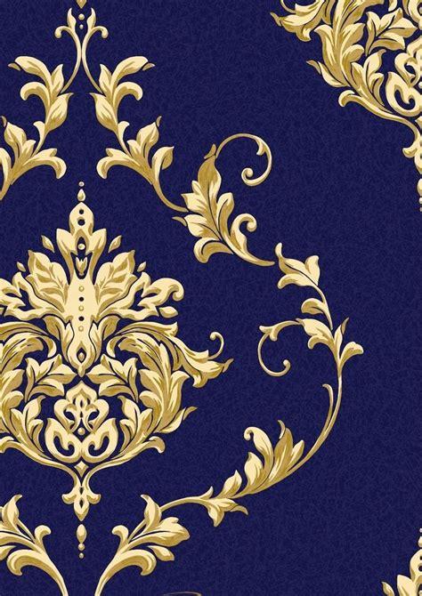 dark blue  gold metallic damask wallpaper google