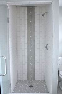 vertical subway tile shower stall with waterfall accent With designing subway tile shower installation