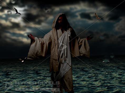 jesus walking  water