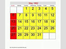 May 1962 Roman Catholic Saints Calendar