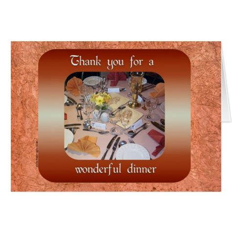 thank you for dinner thank you for dinner card zazzle