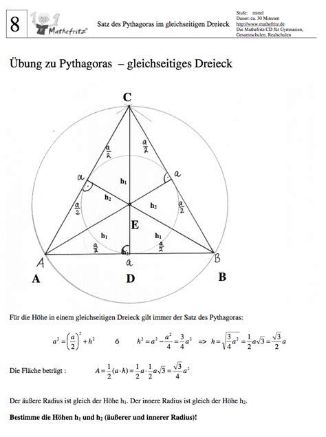 gleichseitiges dreieck flaecheninhalt hoehe gleichseitiges