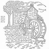 Embroidery Patterns Mill Pattern Coloring Transfer Printable French Flickr Watermill Stitch Crewel Transfers Wheel Machine Modern Knot Windmill Template Adult sketch template