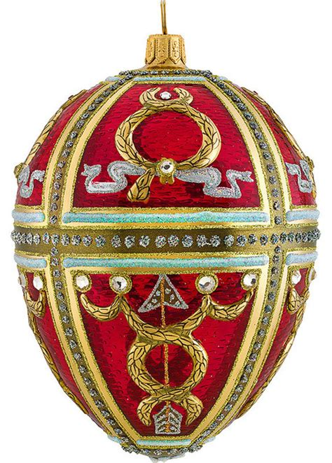 glitterazzi red russian egg ornament traditional
