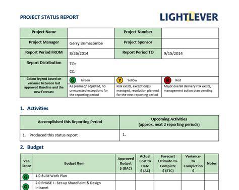 status report project status report template lightlever