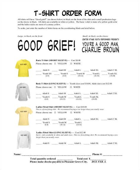 shirt order forms  sample  format
