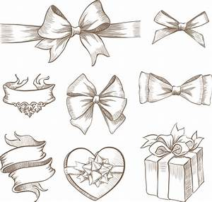 Hand+Drawn+Bow | Free EPS file Hand drawn ribbon bow and ...