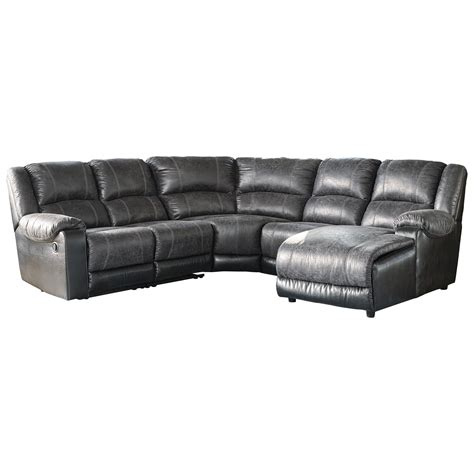 leather reclining sectional with chaise signature design by nantahala faux leather