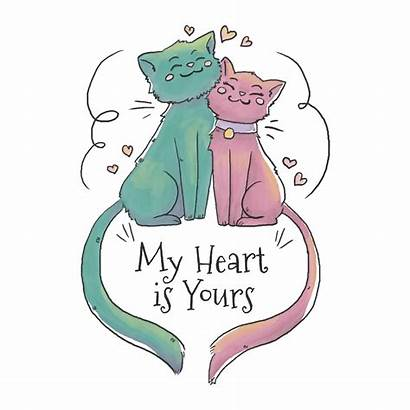 Cat Couple Heart Falling Vector Floating Clipart