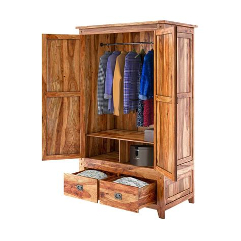 Wood Armoire Closet by Delaware Solid Wood 2 Drawer Rustic Armoire Closet