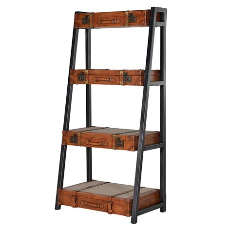 Leather Bookcase by 4 Tier Graduating Leather Shelving Unit Bookcase